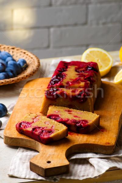 upside down plum and olive oil cake Stock photo © zoryanchik