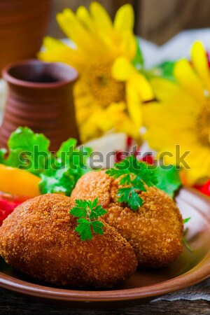 Dandelion mel foco bolo café da manhã Foto stock © zoryanchik
