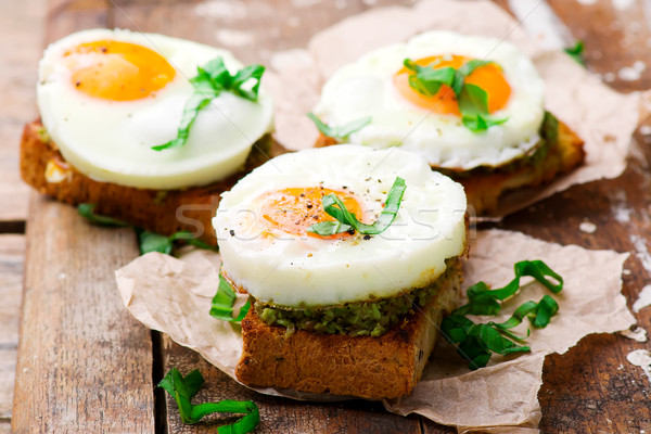 toast with avocado and eggs Stock photo © zoryanchik