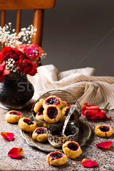 cookies with blackcurrant jam..style rustic Stock photo © zoryanchik