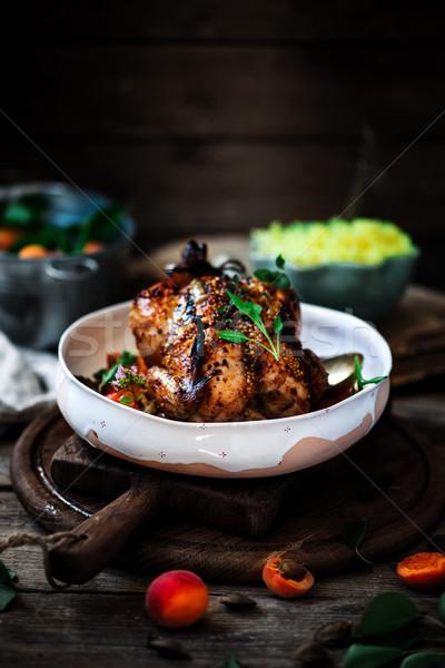 Apricot Dijon Roast Chicken Stock photo © zoryanchik