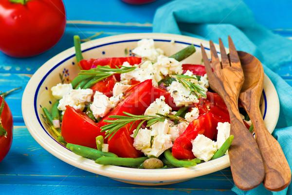 Salade groene bonen tomaten voedsel groene lunch Stockfoto © zoryanchik