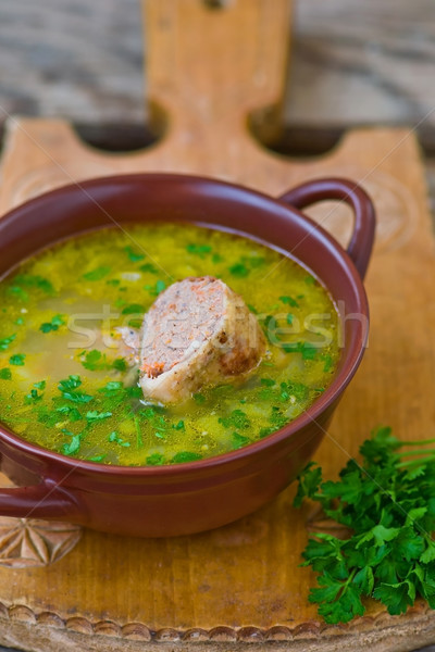 chicken soup with the stuffed chicken neck. Jewish cuisine Stock photo © zoryanchik