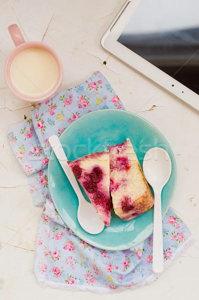 コテージチーズ プリン 桜 ミルク カップ 朝食 ストックフォト © zoryanchik