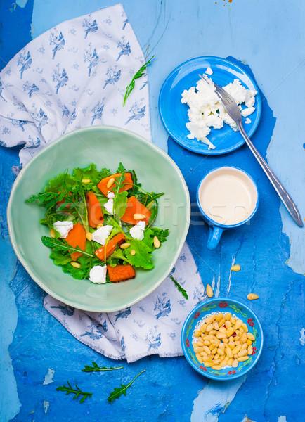 Salade pompoen feta gezonde voeding stijl vintage Stockfoto © zoryanchik