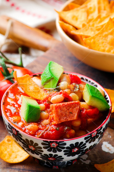 Quick White-Bean Stew. Mexican cuisine. Stock photo © zoryanchik
