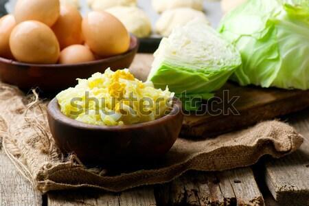 Tarte chou rustique fond table fraîches Photo stock © zoryanchik