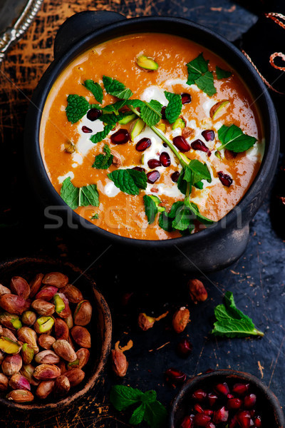 moroccan roasted pumpkin  soup vegan Stock photo © zoryanchik