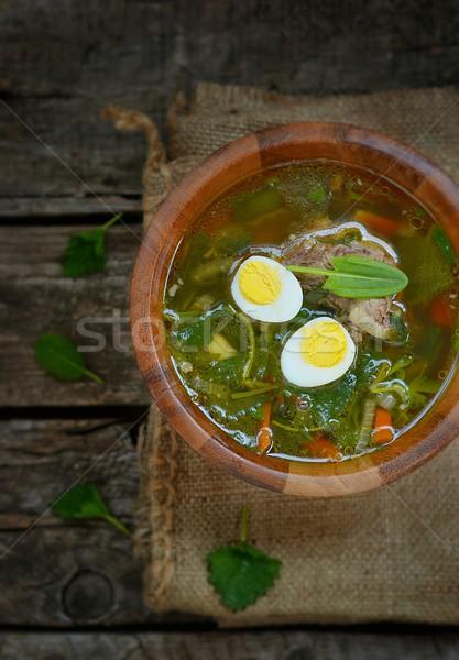 Orosz hagyományos leves tojások tejföl étel Stock fotó © zoryanchik