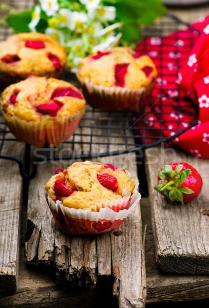 muffins with bran and strawberry Stock photo © zoryanchik