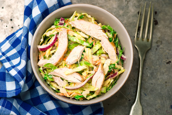 Stok fotoğraf: Tavuk · lahana · salata · gıda · yeşil · akşam · yemeği