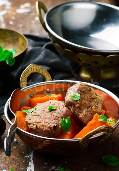 Domuz eti tatlı patates akşam yemeği biber patates Stok fotoğraf © zoryanchik
