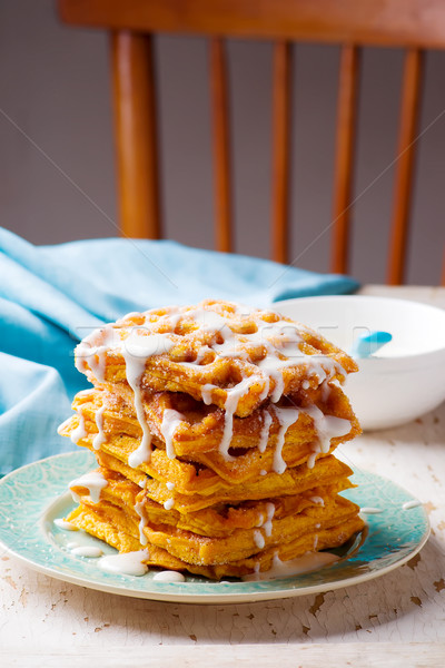 Pumpkin waffles with cream cheese glaze Stock photo © zoryanchik