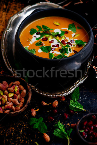 moroccan roasted pumpkin  soup vegan Stock photo © zoryanchik