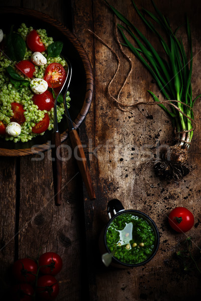 Israelense couscous salada pesto comida queijo Foto stock © zoryanchik