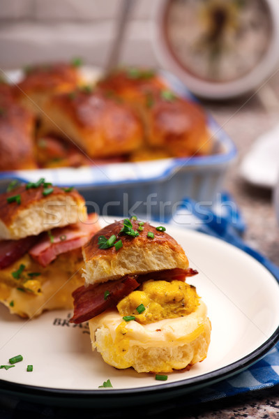 Reggeli szalonna étel eszik fehér sonka Stock fotó © zoryanchik