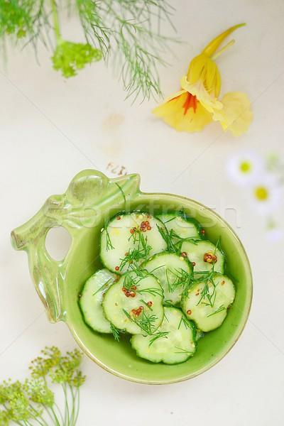 Komkommer augurken eigengemaakt groene kom voedsel Stockfoto © zoryanchik