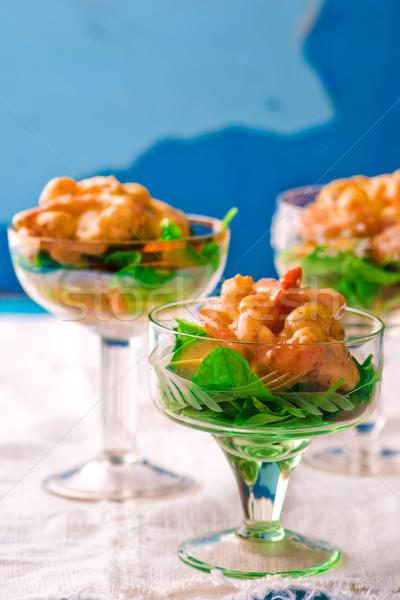 salad - cocktail with shrimps, avocado and arugula  Stock photo © zoryanchik