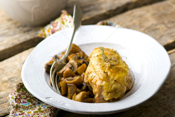 stewed chicken breast with mushrooms in the crock-pot. Stock photo © zoryanchik