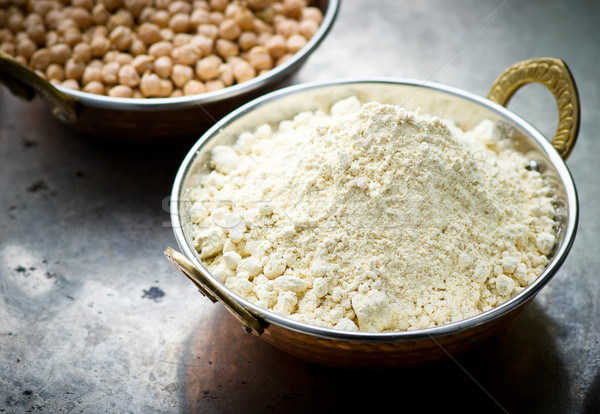 Flour from chick-pea in the Indian copper bowl  Stock photo © zoryanchik