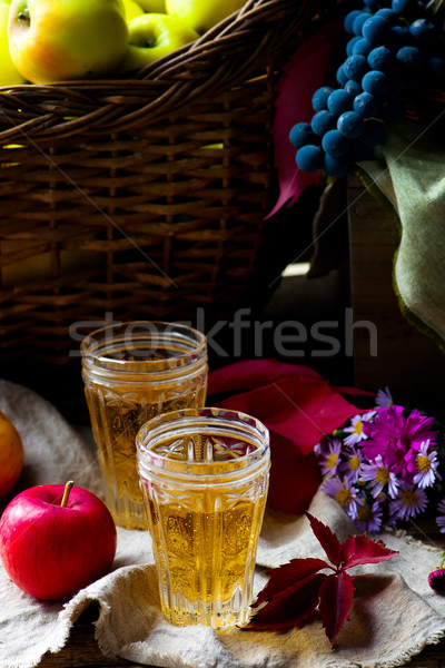 apple cider in vintage glass glasses Stock photo © zoryanchik