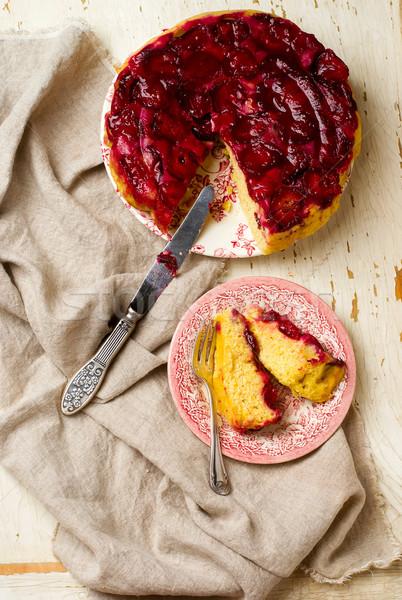 upside down  plum cake Stock photo © zoryanchik