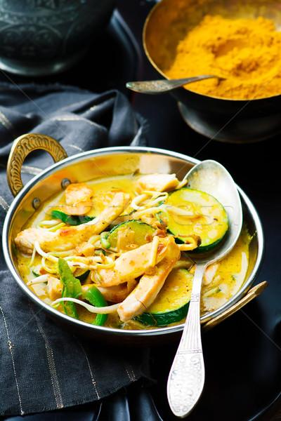 Pollo hortalizas curry atención selectiva indio almuerzo Foto stock © zoryanchik
