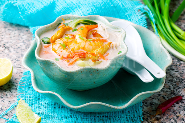 Stock photo: Coconut flavored Chicken and Shrimp Soup.