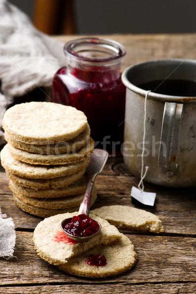 Scottish Oatcakes with cowberry jam.style rustic Stock photo © zoryanchik