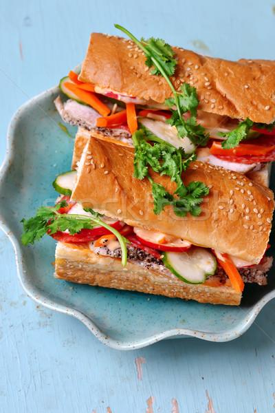 Vietnamese Turkey Sandwich.selecive focus Stock photo © zoryanchik