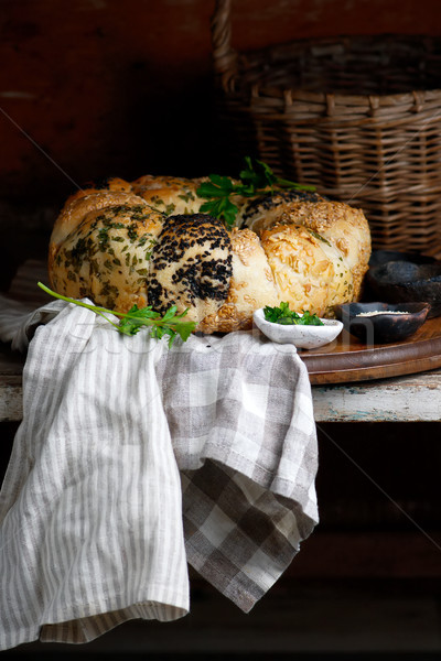 Tear and Share Bread with Herbs and Seeds.style rustic Stock photo © zoryanchik