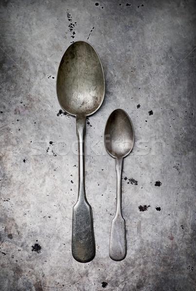 Vintage tafelgerei metaal oude stijl selectieve aandacht Stockfoto © zoryanchik