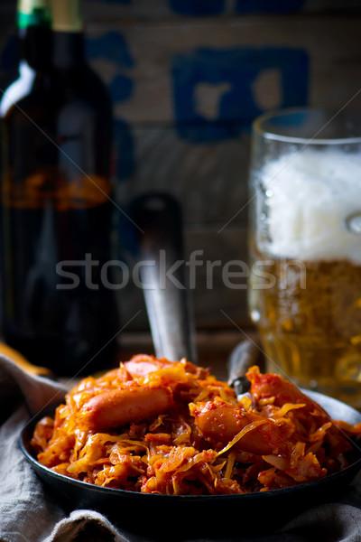 Stok fotoğraf: Lahana · sosis · bağbozumu · tava · kupa · bira