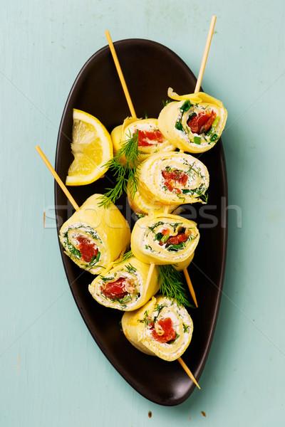 pancakes with cream cheese and salmon Stock photo © zoryanchik