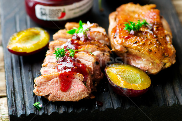 fried duck breast with plum sauce Stock photo © zoryanchik