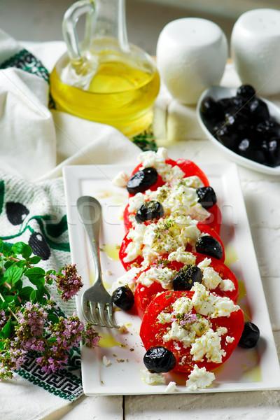Paradicsom fetasajt fókusz vacsora saláta ebéd Stock fotó © zoryanchik