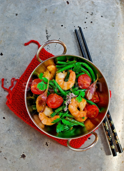 shrimps stir fry Stock photo © zoryanchik