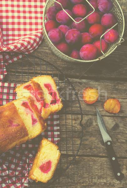 homemade plum cake Stock photo © zoryanchik