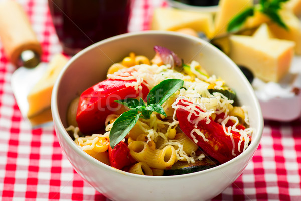 spaghetti with vegetables ,tomatoes and basil Stock photo © zoryanchik