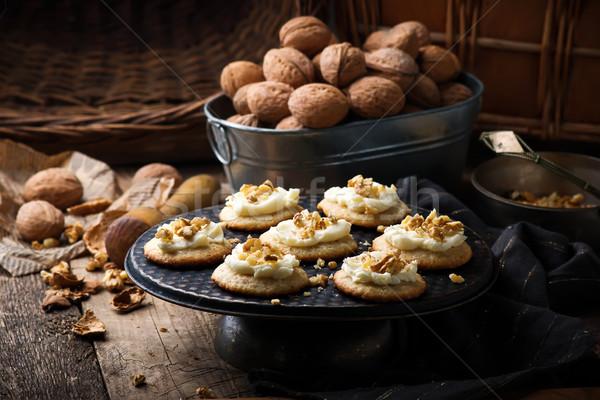 śmietana rustykalny żywności śniadanie biały Zdjęcia stock © zoryanchik