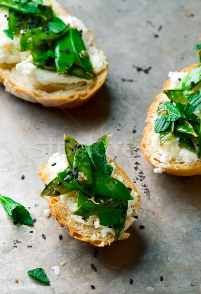 Grilled Snap Pea and Whipped Ricotta Toast Stock photo © zoryanchik