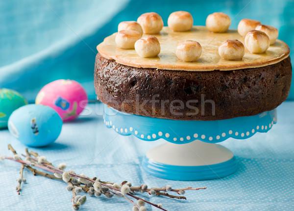 Simnel cake .Traditional English easter cake with marzipan.  Stock photo © zoryanchik