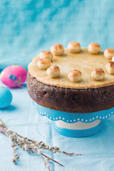торт традиционный английский Пасху марципан избирательный подход Сток-фото © zoryanchik