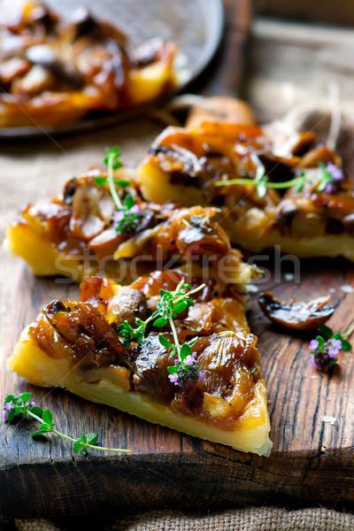 Mantar pasta stil rustik seçici odak öğle yemeği Stok fotoğraf © zoryanchik