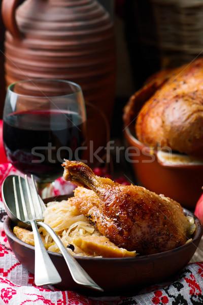 Sült kacsa káposzta stílus rusztikus szelektív fókusz Stock fotó © zoryanchik