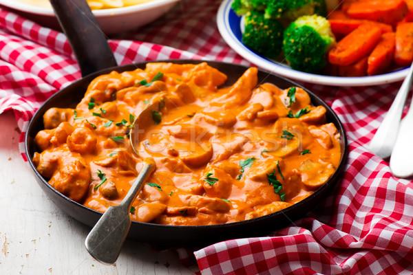 Chicken Stroganoff in frying pan Stock photo © zoryanchik