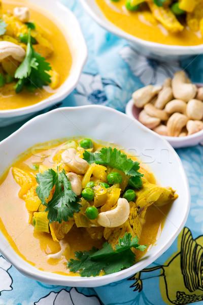 Frango legumes caril foco indiano almoço Foto stock © zoryanchik