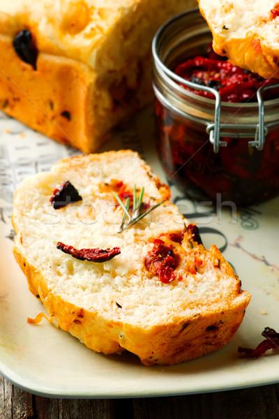 Rosemary Tomato Parmesan Bread .style rustic Stock photo © zoryanchik