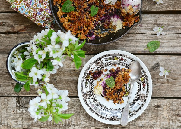 homemade blueberry crumble on  wooden table Stock photo © zoryanchik