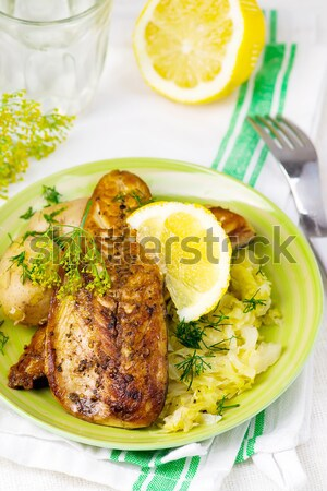fried mackerel with braised cabbage Stock photo © zoryanchik